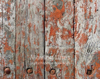 Weathered Wood Backdrop, Printable Food Photography Background, Shabby Red Wood Wall Texture, Baby Product Photo Prop 2f, 61cm