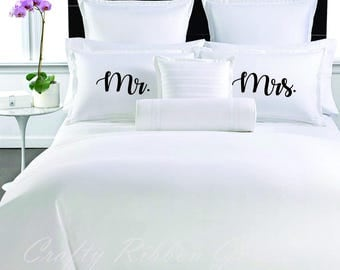 Mr. and Mrs. Sham Pillowcases 26 x 20, Wedding Pillow Cover with Words Decorative Pillows