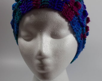 Jewel-toned crochet ear warmer headband