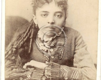 Beautiful Ethnic Young Woman Antique Cabinet Photo