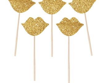 Photo Booth Props 10 Gold Glitter Lips on a Stick Holiday Photobooth Props Wedding Photo Props Glitter Photo Props Classy Photo Props
