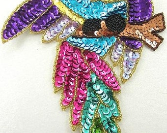 """Parrot Multi-Colored Sequins and Beads 8.5"""" x 6""""  -9176"""