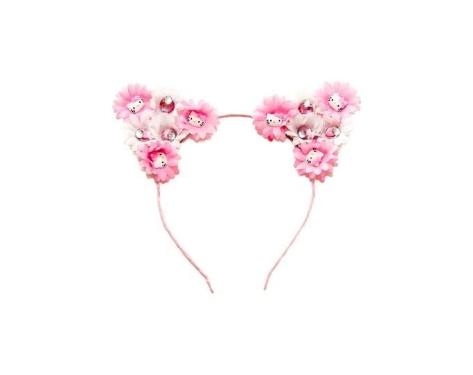 Pink White Cat Ear Headband