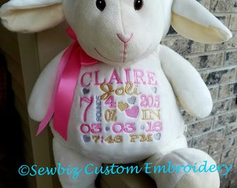 Personalized Baby Gift Personalized Stuffed Animal monogrammed Lamb Embroidered Birth Announcement by Sewbiz Embroidery Too