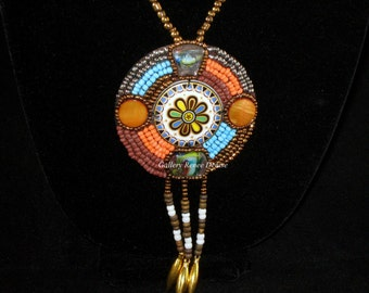 Beaded Necklace Turquoise Necklace Orange Vintage Necklace Southwestern Necklace Stone Necklace SWN119