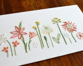 Wild Flowers hand embroidery pattern, modern embroidery, PDF pattern, digital download