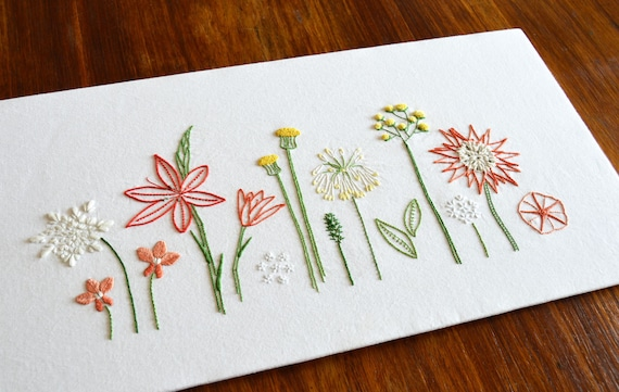 Wild Flowers Hand Embroidery Pattern, Modern Embroidery