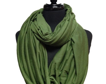 Olive Scarf, Infinity Scarf, Jersey Scarf, Cotton Scarf, Jersey Infinity Scarf, Cotton Jersey Scarf