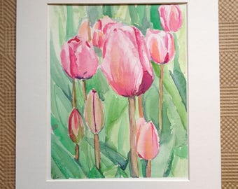 Spring Tulip Watercolor Painting - Field of Pink Tulips Painting - Original Watercolor Tulips - Pink Floral Painting