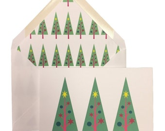 Christmas Trees Card, Box of 8 w/ lined envelopes, Greeting Cards, Modern, Linen Paper, Heavyweight Card Stock. Original Art, 5X7