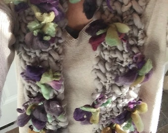 Soft Blooming Flower Heather Gray Lilac Purple Wool Scarf Tumblr Indie Colorful Flowers Urban Chic Hippie Boho by The Wild Willows