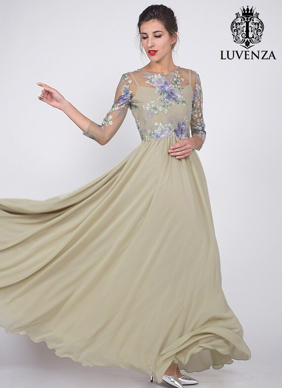Evening lace maxi dresses