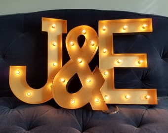 "Gold Light Up Letter Lights Marquee Bulb Sign - 8"", 12"", 16"" sizes available"
