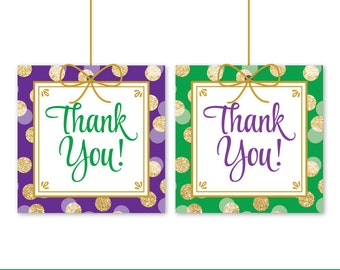 Mardi Gras Party Favor Tags - Printable Mardi Gras Party Decorations Thank You Favor Tags Labels - Mardi Gras Birthday Party Supplies