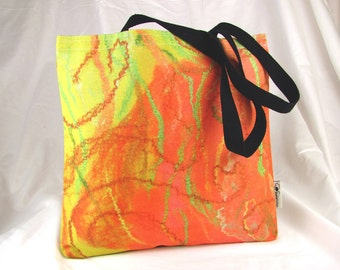 Canvas tote bag - printed fabric - Orange - lemon - lime swirls -digital image felted fabric - reusable shopping bag - gym tote - beach bag
