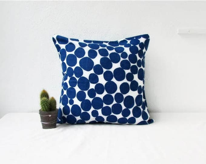 Blue spotty cushion cover, 16 inch pillow cover, handmade in the UK