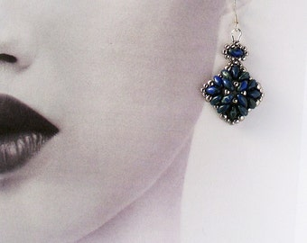Earrings, Dark Blue and Silver, Square Shaped Diamond, with Sterling Silver Ear Wires