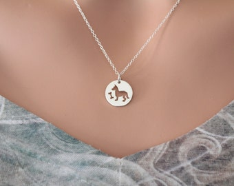Sterling Silver Dog Charm Necklace, Silver Dog and Bone Necklace, Puppy Charm Necklace, Puppy Necklace, Dog Cutout Charm Necklace