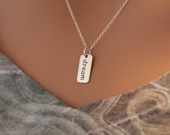 Sterling Silver Dream Charm Necklace, Dream Necklace, Dream Word Necklace, Silver Dream Necklace, Sweet Dreams Necklace, Sleep Necklace