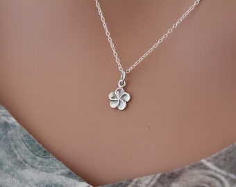 Sterling Silver Plumeria Flower Charm Necklace, Small Flower Charm Necklace, Tiny Plumeria Flower Necklace, Little Flower Necklace