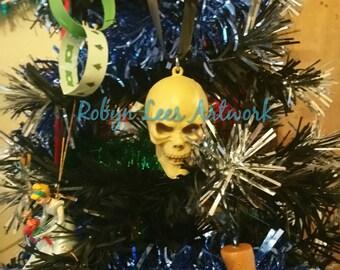 Large Skull Hanging Ornament on Black Italian Silk Ribbon. Halloween, Christmas, Different