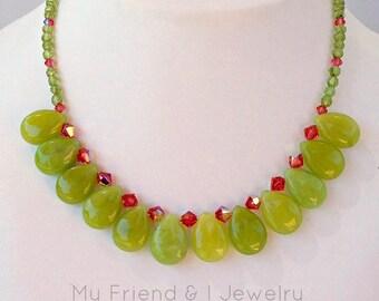 Lime Green Quartz Necklace Peridot Swarovski Crystal Sterling Silver Spring Gift LN212