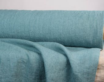 """Pure 100% linen fabric 250gsm. Duck egg blue-green color with """"wash-out"""" effect. Quite heavy, washed-softened, dense, a little homespun."""