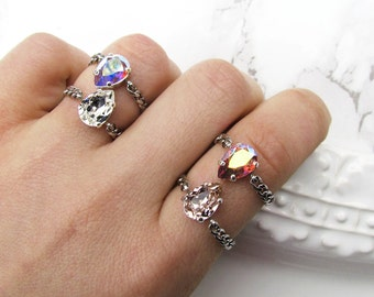Baby Pear Swarovski Rings / Crystal Rings / Stainless Steel / Chain Ring / Curb Chain / AB / Aurora Borealis / Pink / Diamond