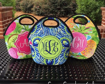 Monogrammed Lunchbox, Monogram Lunch Bag,  Monogrammed Lunch Tote, Personalized Lunch Tote, Monogrammed Gift for Her |