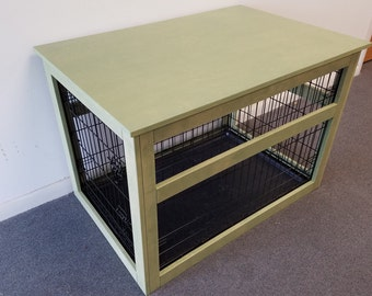 Medium Wire Crate With Wooden Cover For Dog Or Cat, End Table, Night Stand