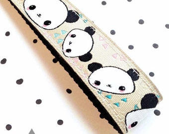 Slim Key Chain / Key Fob: Pandas On Beige Webbing