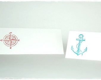 Place card with stamped compass / anchor (6 PCs)
