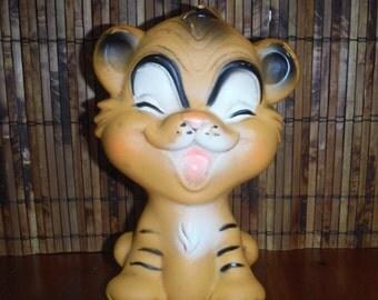 Vintage 1960's Tiger Squeak Toy - Little Baby Squeaker Toy - Vintage 1967 Baby Joy Orange Tiger Child Baby Rubber Squeak Toy - Vintage Tiger