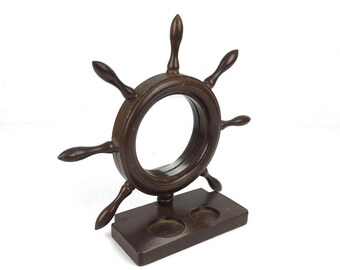 Vintage Nautical Ships Wheel Wood Holder 1970s Wooden Ship Wheel Countertop Nautical Holder with Mirror Japan 1970