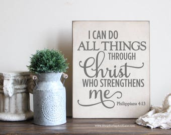 I can do all things through Christ, inspirational wall decor, wood scripture sign, home and living, living room decor, wood scripture sign,