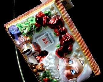 "Radko  ""Season's Greetings"" Postcard To Santa Glass Christmas Ornament"