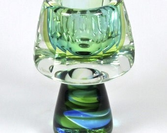 Vintage Mandruzzato Era Sommerso Murano Glass Faceted Vase in Green Blue