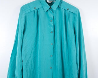 VTG RETRO TOP ϟ Vintage Teal Retro Vibrant Button Up Blouse / Shirt / Top