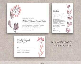 Watercolor Floral/Foliage Wedding Bundle, DIY Printable, Invite, RSVP, Details
