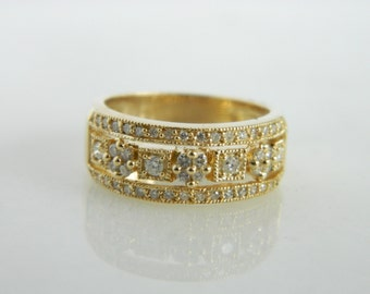 Vintage Geometric Diamond Ring Wrapped in 14K Yellow Gold