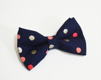 Navy with Coral and silver dot bow ties For baby/Toddler/Teen/Adult/with Adjust strap/Clip on