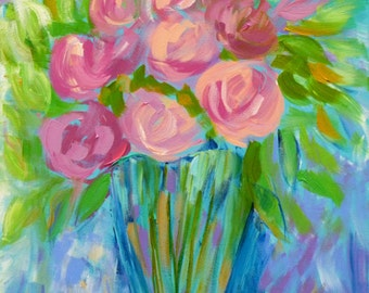Pretty Pink Roses, 18x18, flower painting, floral artwork, original art, square art, still life painting, flower arrangement flowers in vase
