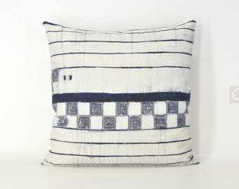 "Indigo Pillow Cover Vintage Hmong Hemp Batik, Ethnic Boho Hmong Decorative Throw Pillow, Tribal Bohemian Cushion Cover  18"" x 18"" / 801"