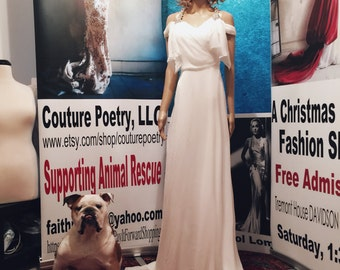 Sample size 2 Chiffon & Crystal gown