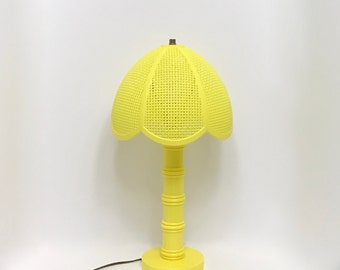 Vintage Yellow Plastic Lamp 1970s Lighting with Lampshade