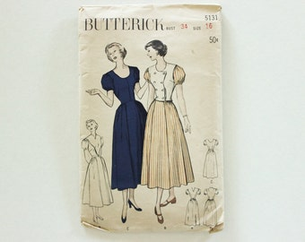 Butterick 5131 · Sz 16, bust 34 · Womens Versatile Dress with Weskit or Plastron Optional · Vintage 1940s Sewing Pattern
