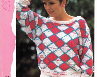 Lady's Round Neck Geometric Sweater Pullover Jumper  Size 81 to 97 cm (32 to 38 inch) Patons Yarn Mixing 7874 Vintage Retro Knitting Pattern