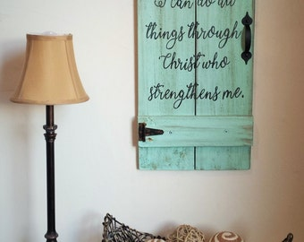I Can Do All Things Through Christ Who Strengthens Me Philippians 4 13 Reclaimed Wood Christian Door Gate with Hinges Sign