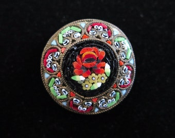 Vintage Micro-Mosaic Rose Flower Brooch, Very Collectable, Signed Italy