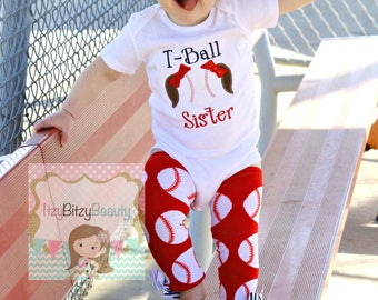 Baseball T-Ball Softball Girls Ponytail Bows Embroidered Shirt Red Zebra Leg Warmers Outfit